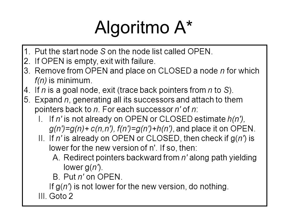 Algoritmo A* Put the start node S on the node list called OPEN.