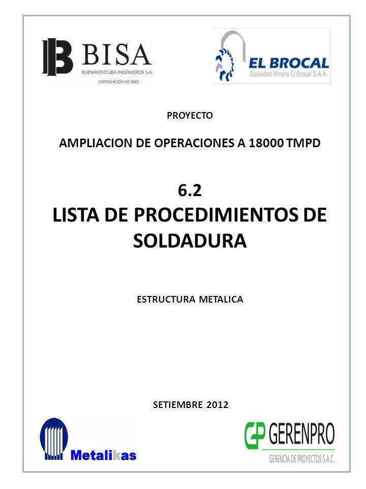LISTA DE PROCEDIMIENTOS DE SOLDADURA