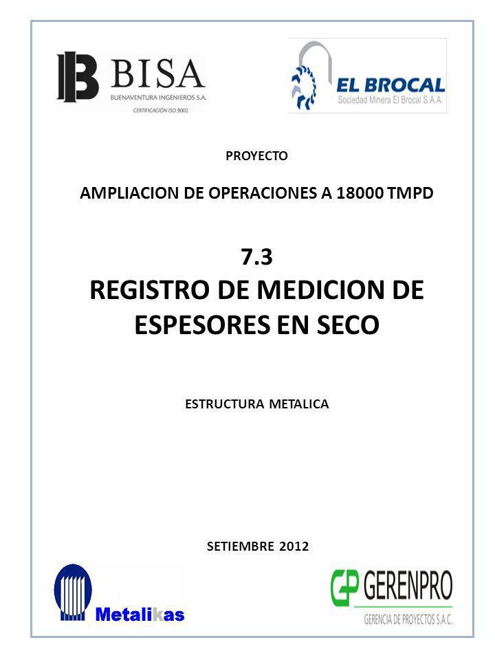 REGISTRO DE MEDICION DE ESPESORES EN SECO