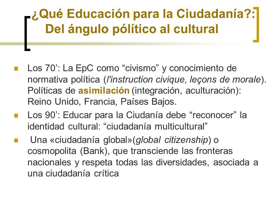¿Qué Educación para la Ciudadanía : Del ángulo pólítico al cultural