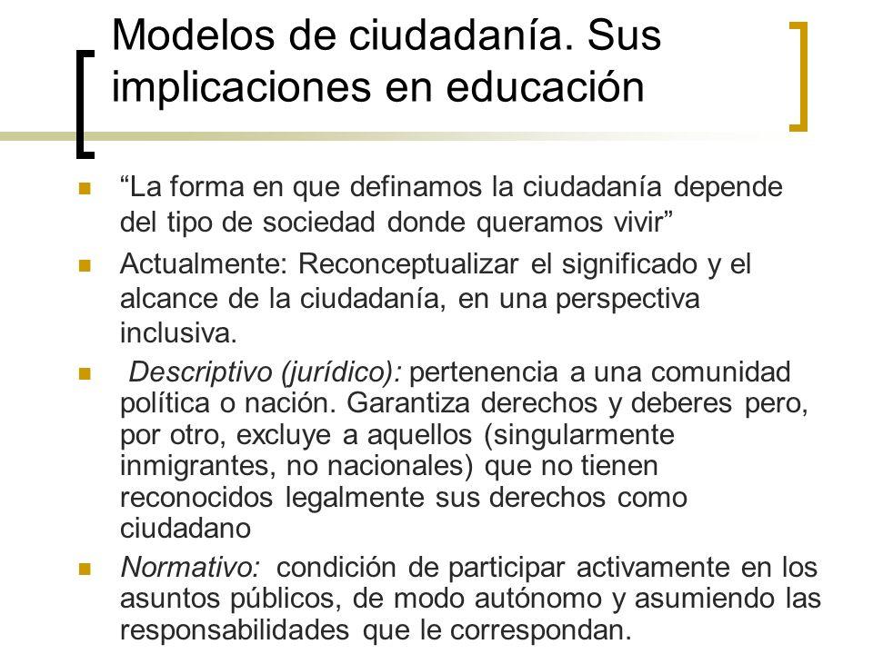 Modelos de ciudadanía. Sus implicaciones en educación
