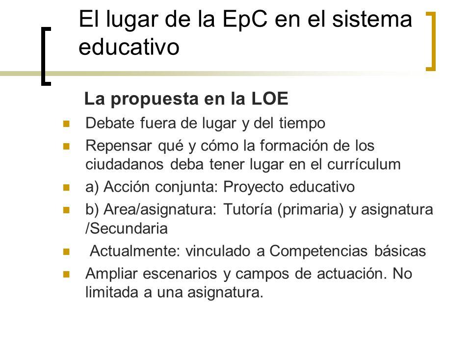 El lugar de la EpC en el sistema educativo