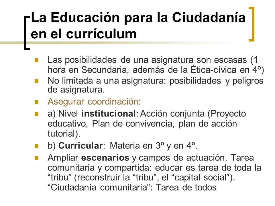 La Educación para la Ciudadanía en el currículum