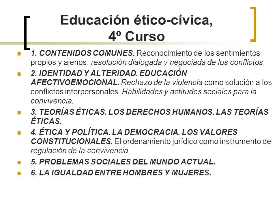 Educación ético-cívica, 4º Curso
