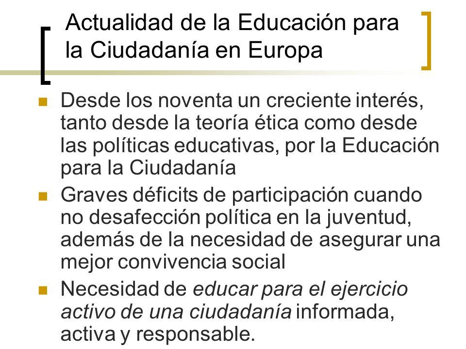 Actualidad de la Educación para la Ciudadanía en Europa