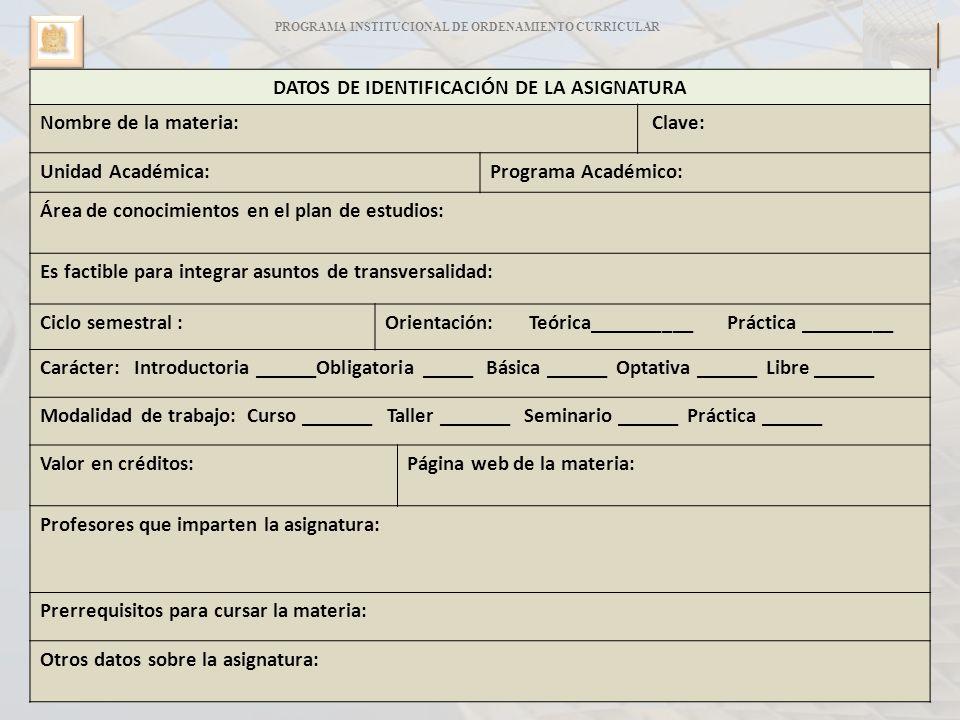 DATOS DE IDENTIFICACIÓN DE LA ASIGNATURA