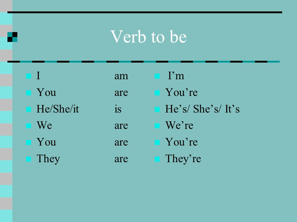 Verb to be I am You are He/She/it is We are They are I'm You're
