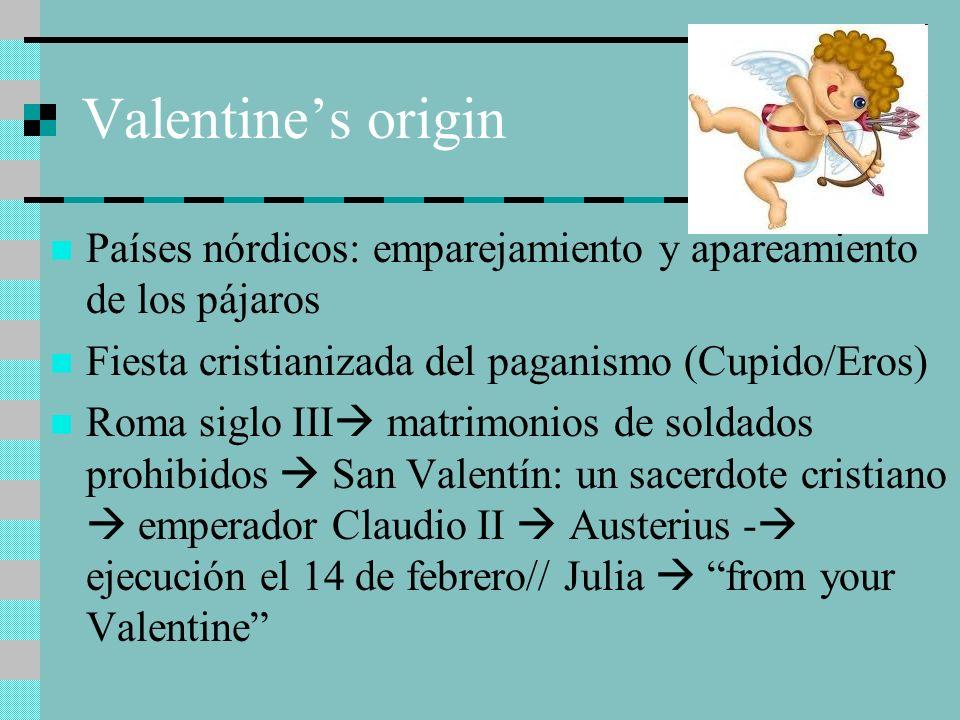 Valentine's originPaíses nórdicos: emparejamiento y apareamiento de los pájaros. Fiesta cristianizada del paganismo (Cupido/Eros)