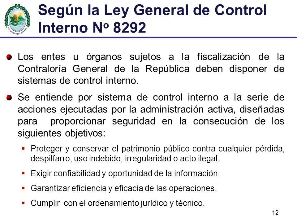 Según la Ley General de Control Interno No 8292