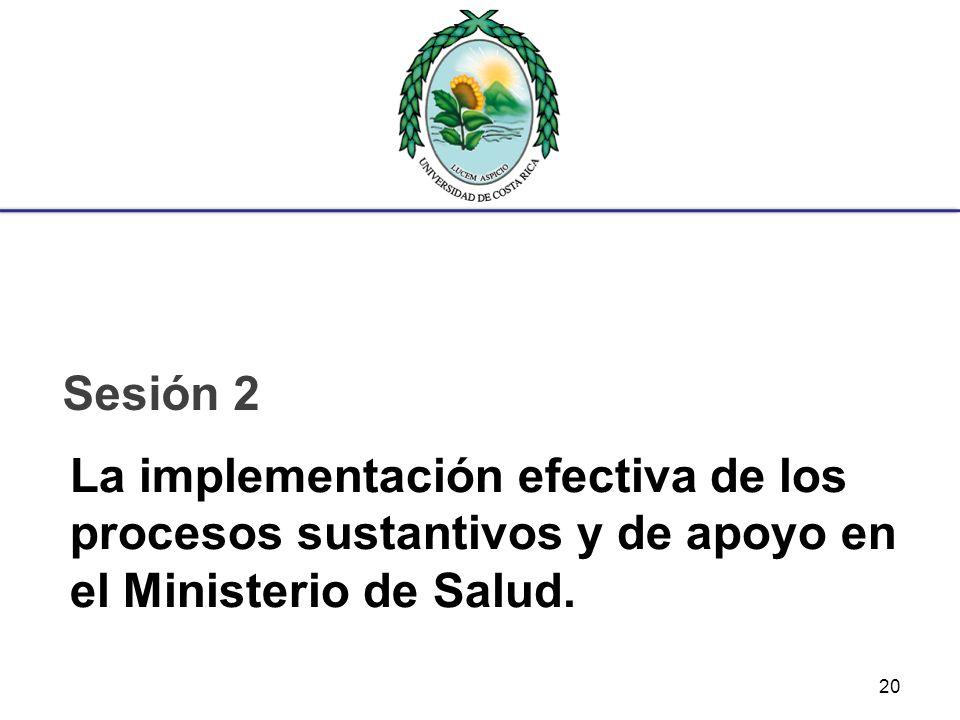 Sesión 2 La implementación efectiva de los procesos sustantivos y de apoyo en el Ministerio de Salud.