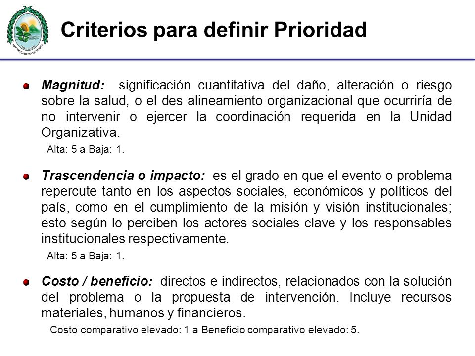Criterios para definir Prioridad