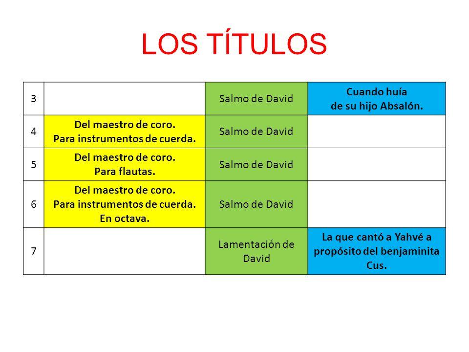 LOS TÍTULOS 3 Salmo de David Cuando huía de su hijo Absalón. 4