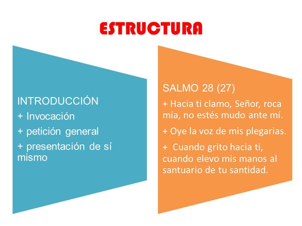 ESTRUCTURA + presentación de sí mismo + petición general + Invocación