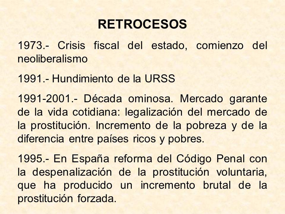 RETROCESOS 1973.- Crisis fiscal del estado, comienzo del neoliberalismo. 1991.- Hundimiento de la URSS.