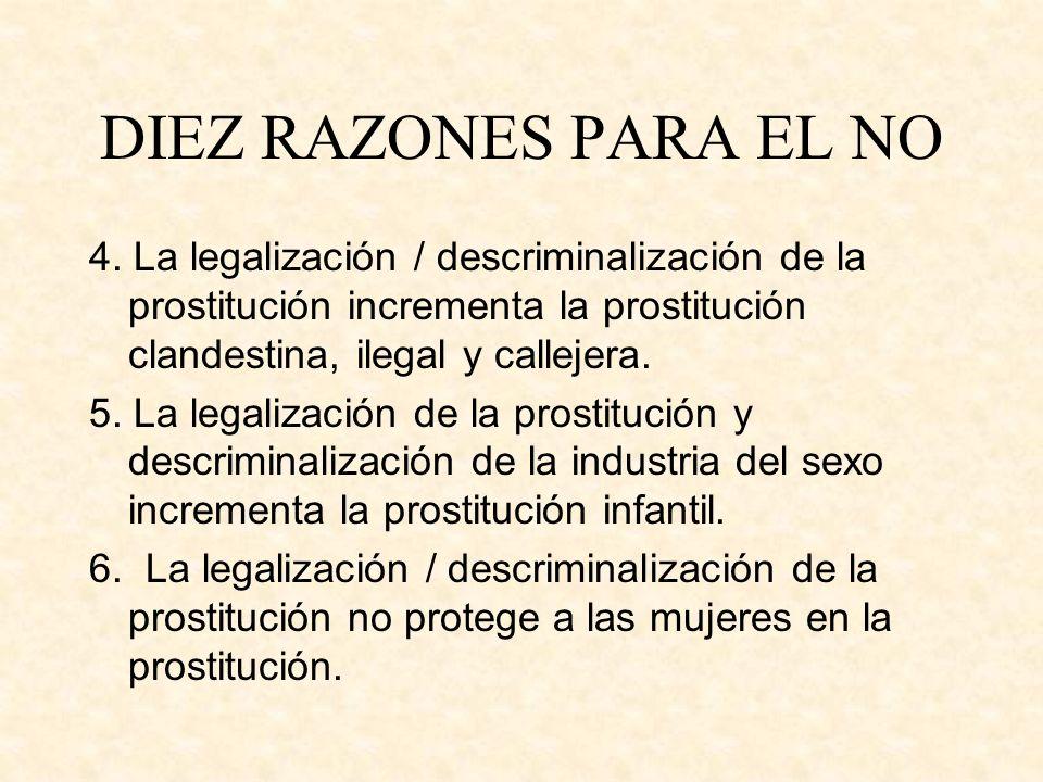 DIEZ RAZONES PARA EL NO 4. La legalización / descriminalización de la prostitución incrementa la prostitución clandestina, ilegal y callejera.