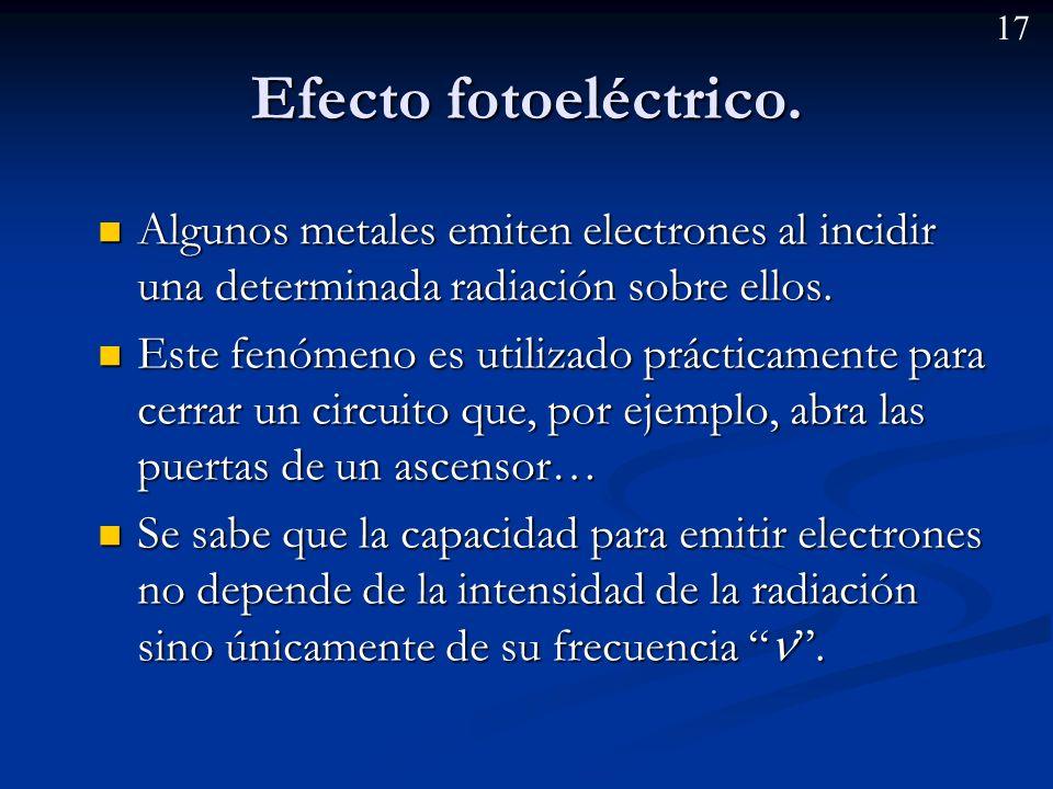 Efecto fotoeléctrico. Algunos metales emiten electrones al incidir una determinada radiación sobre ellos.