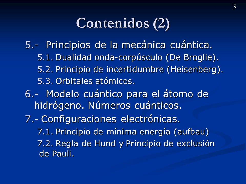 Contenidos (2) 5.- Principios de la mecánica cuántica.
