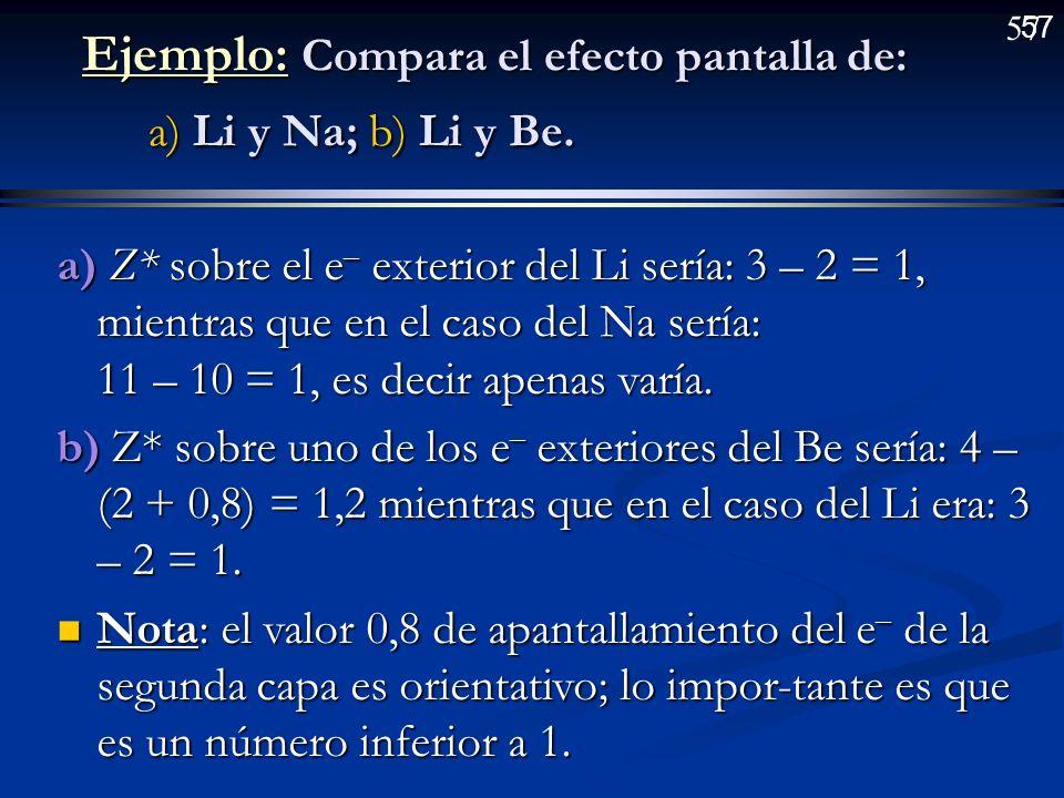 Ejemplo: Compara el efecto pantalla de: a) Li y Na; b) Li y Be.
