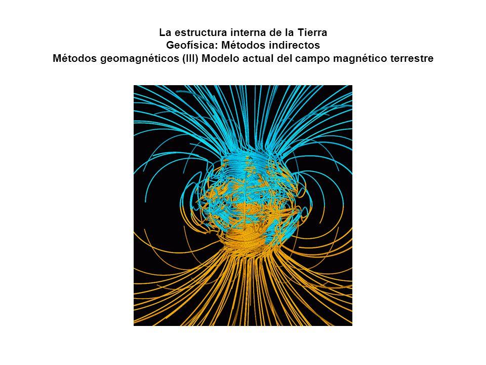 La estructura interna de la Tierra Geofísica: Métodos indirectos Métodos geomagnéticos (III) Modelo actual del campo magnético terrestre