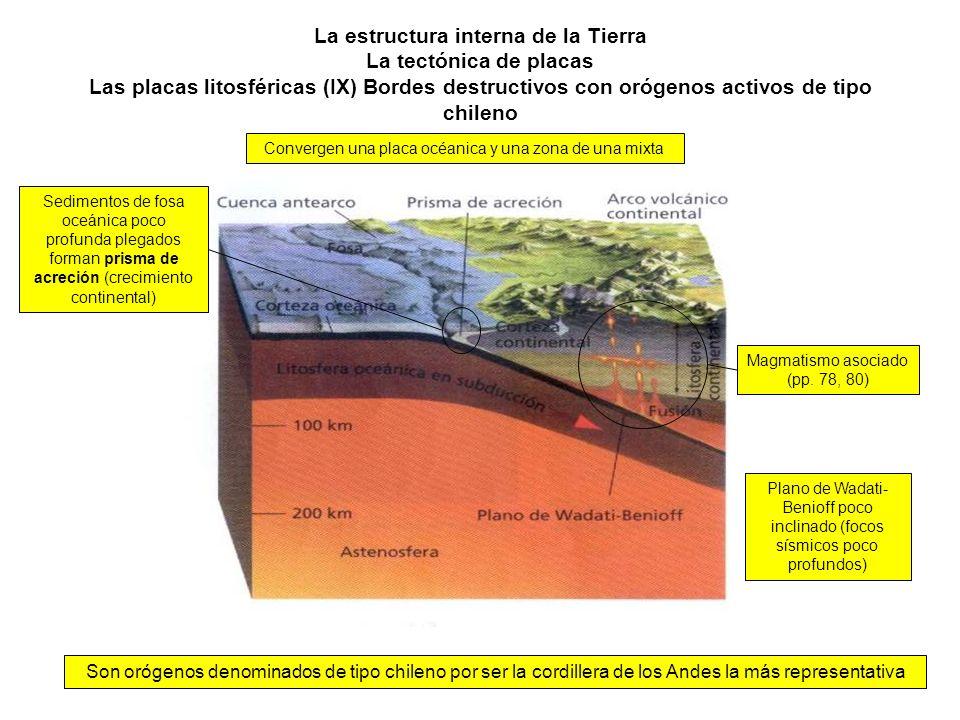 La estructura interna de la Tierra La tectónica de placas Las placas litosféricas (IX) Bordes destructivos con orógenos activos de tipo chileno