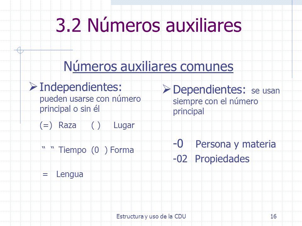 3.2 Números auxiliares Números auxiliares comunes