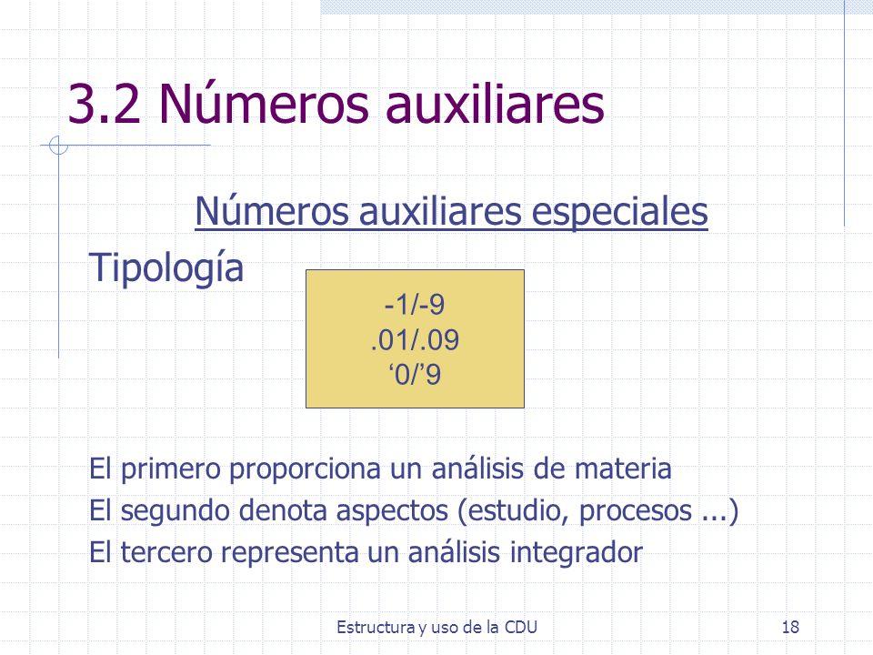 3.2 Números auxiliares Números auxiliares especiales Tipología