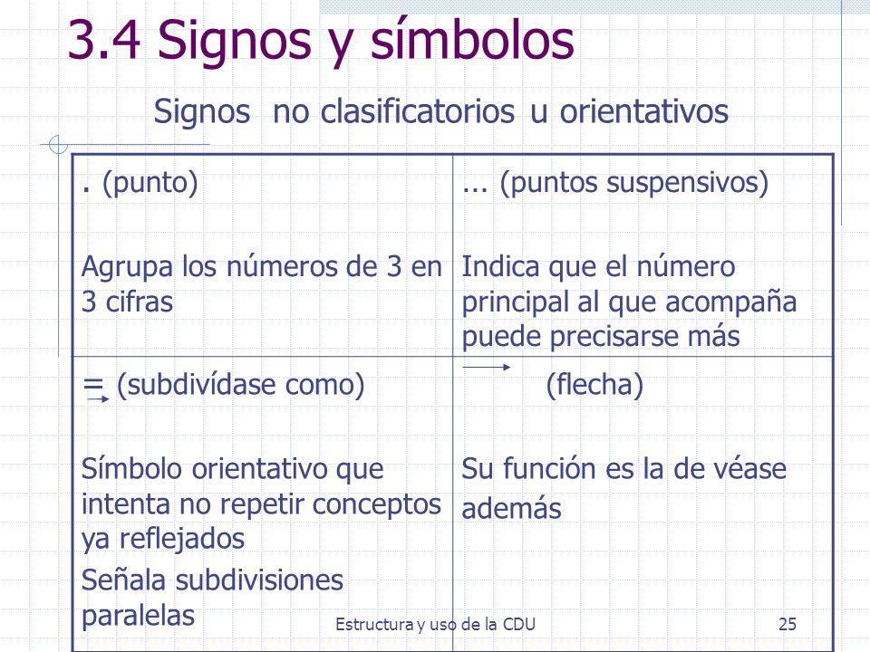 3.4 Signos y símbolos Signos no clasificatorios u orientativos