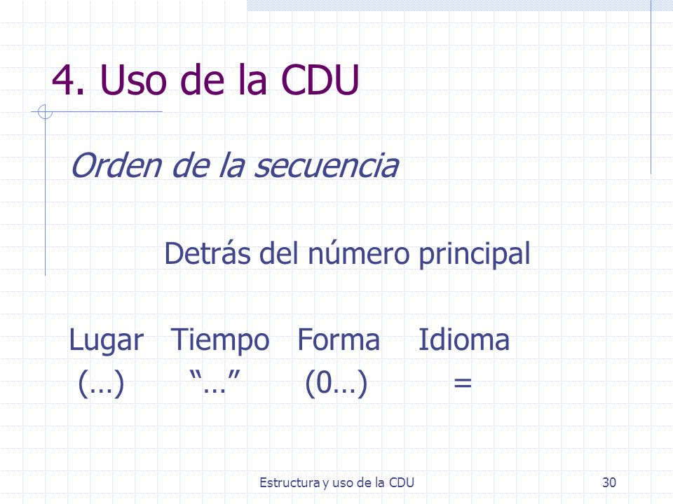 4. Uso de la CDU Orden de la secuencia Detrás del número principal