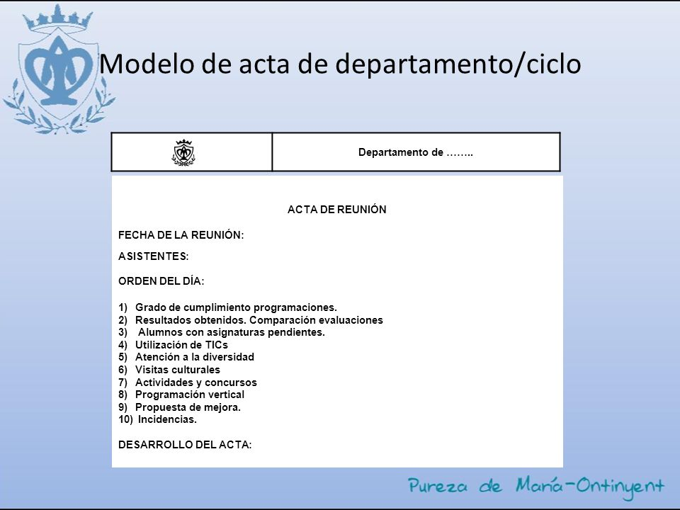 Modelo de acta de departamento/ciclo