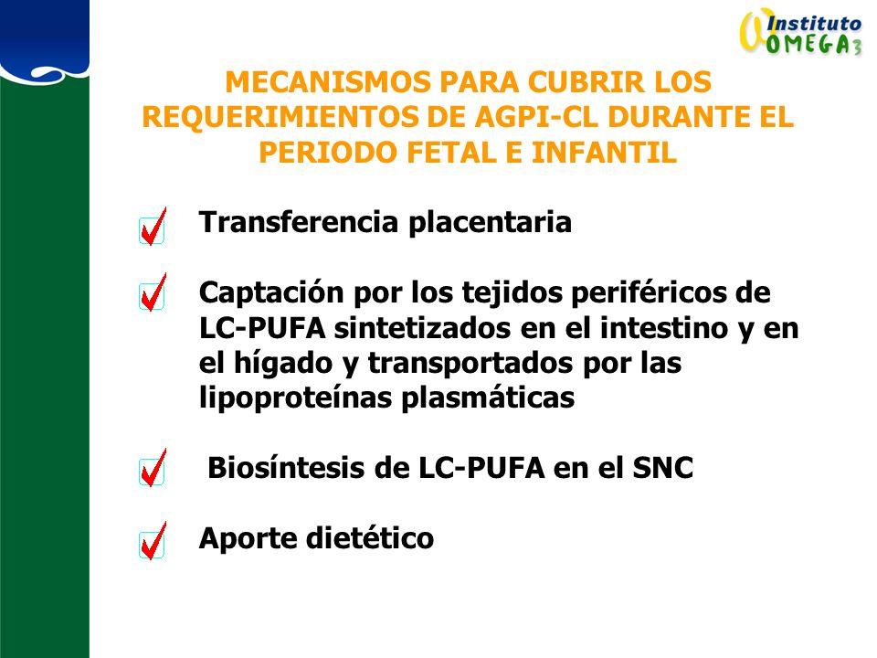Biosíntesis de LC-PUFA en el SNC Aporte dietético