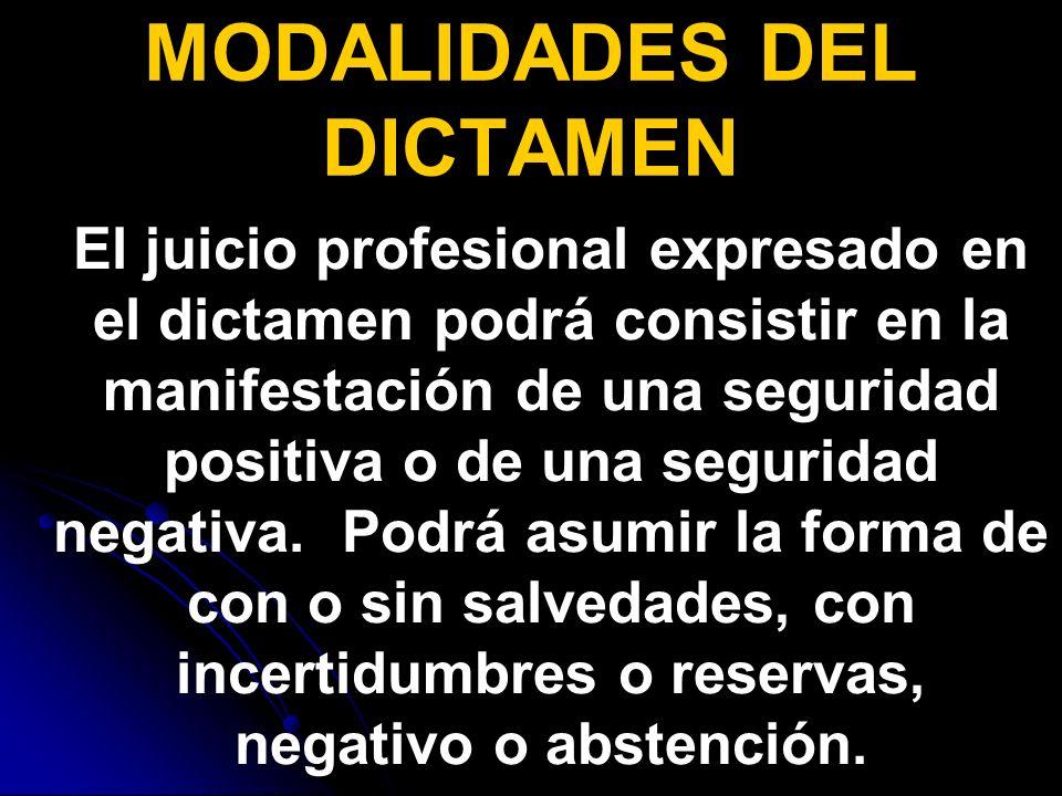 MODALIDADES DEL DICTAMEN