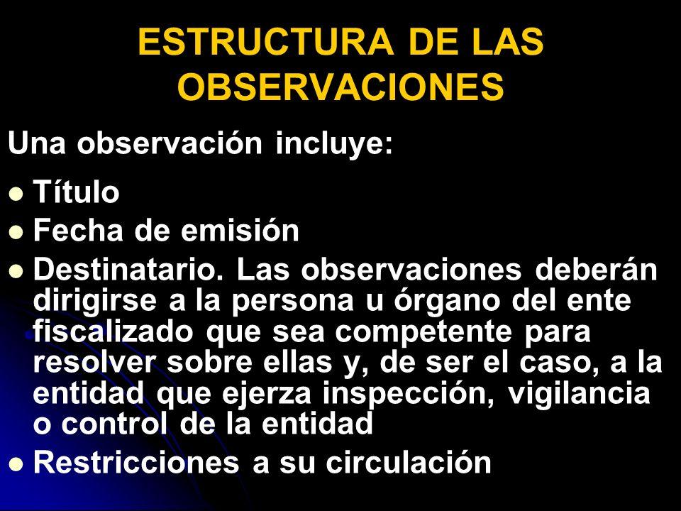 ESTRUCTURA DE LAS OBSERVACIONES