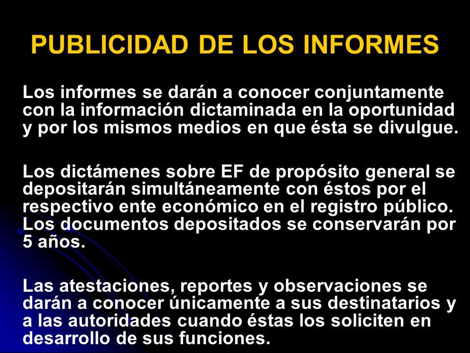 PUBLICIDAD DE LOS INFORMES