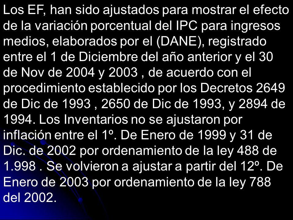 Los EF, han sido ajustados para mostrar el efecto de la variación porcentual del IPC para ingresos medios, elaborados por el (DANE), registrado entre el 1 de Diciembre del año anterior y el 30 de Nov de 2004 y 2003 , de acuerdo con el procedimiento establecido por los Decretos 2649 de Dic de 1993 , 2650 de Dic de 1993, y 2894 de 1994.