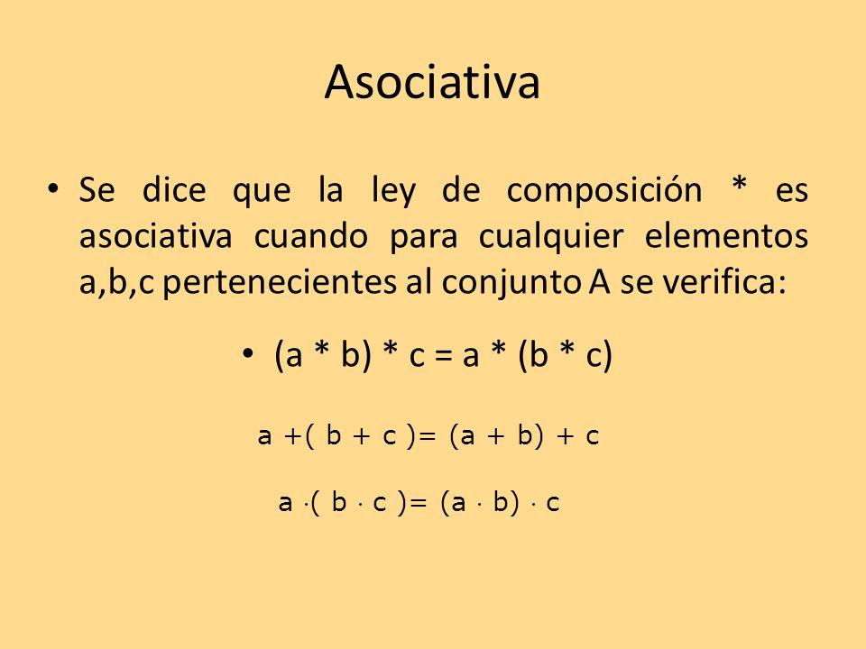 Asociativa Se dice que la ley de composición * es asociativa cuando para cualquier elementos a,b,c pertenecientes al conjunto A se verifica: