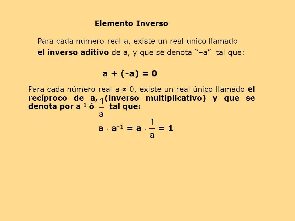a + (-a) = 0 a  a-1 = a  = 1 Elemento Inverso