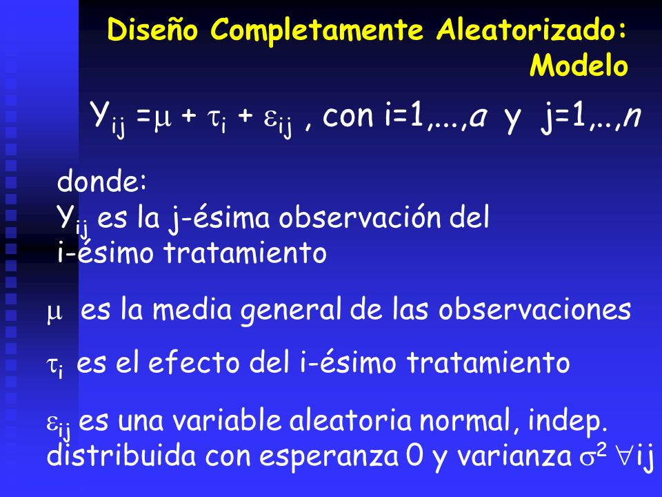 Yij = + i + ij , con i=1,...,a y j=1,..,n