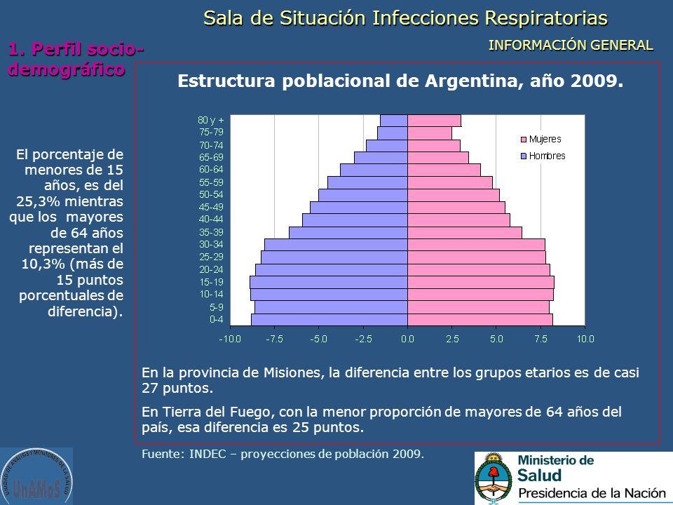 Estructura poblacional de Argentina, año 2009.