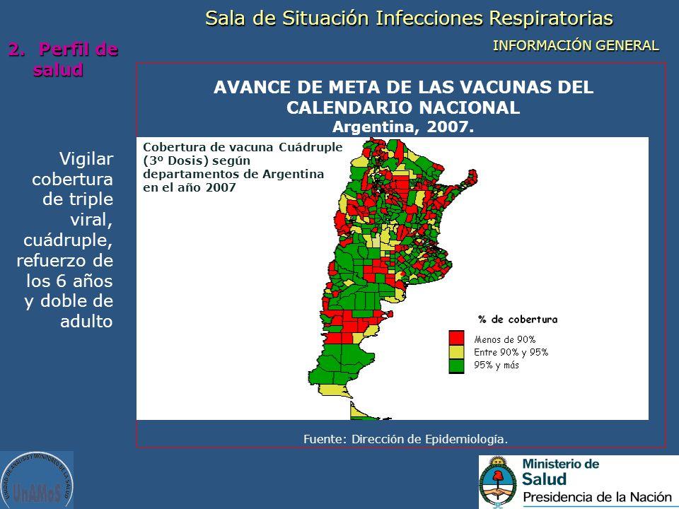 AVANCE DE META DE LAS VACUNAS DEL CALENDARIO NACIONAL Argentina, 2007.