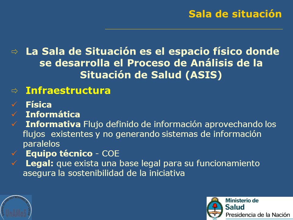 Sala de situación La Sala de Situación es el espacio físico donde se desarrolla el Proceso de Análisis de la Situación de Salud (ASIS)
