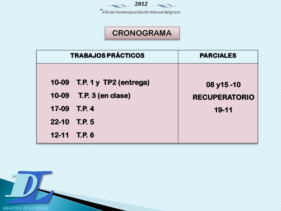 CRONOGRAMA 10-09 T.P. 1 y TP2 (entrega) 08 y15 -10