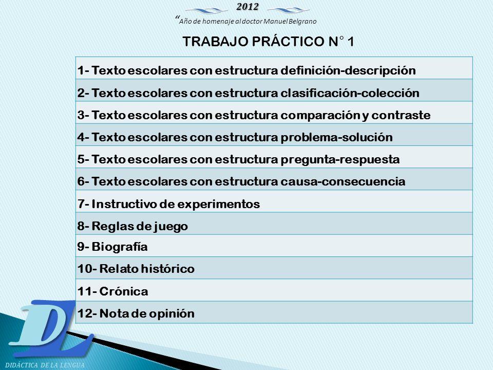 TRABAJO PRÁCTICO N° 1 1- Texto escolares con estructura definición-descripción. 2- Texto escolares con estructura clasificación-colección.