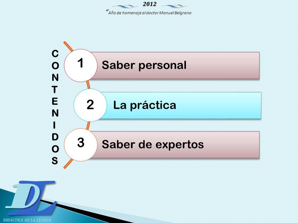 Saber personal La práctica Saber de expertos CONTENIDOS 1 2 3