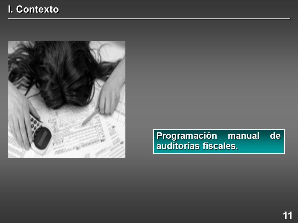 I. Contexto Programación manual de auditorías fiscales. 11