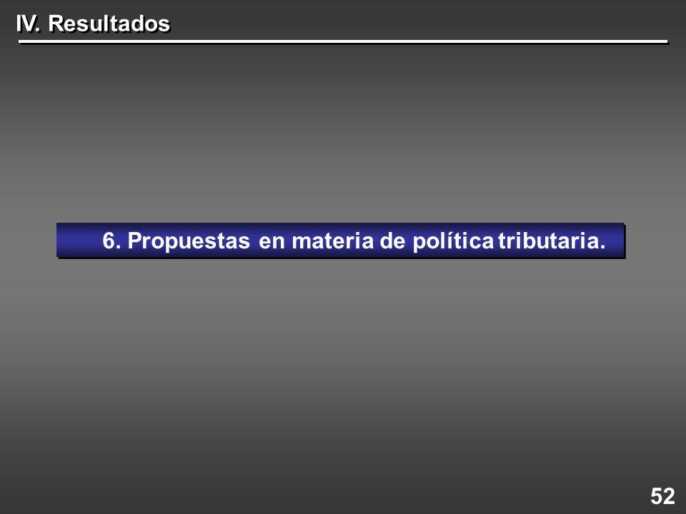 6. Propuestas en materia de política tributaria.