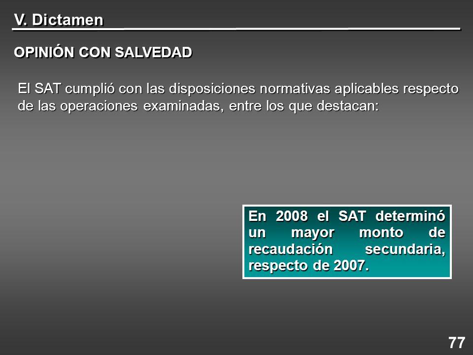 V. Dictamen 77 OPINIÓN CON SALVEDAD