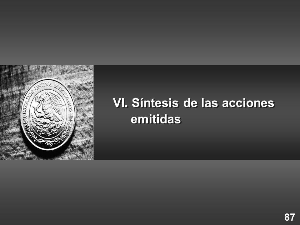 VI. Síntesis de las acciones emitidas