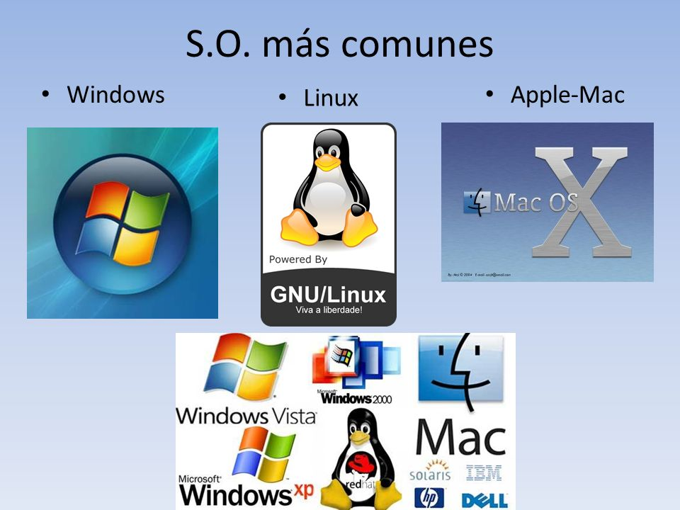 S.O. más comunes Windows Linux Apple-Mac