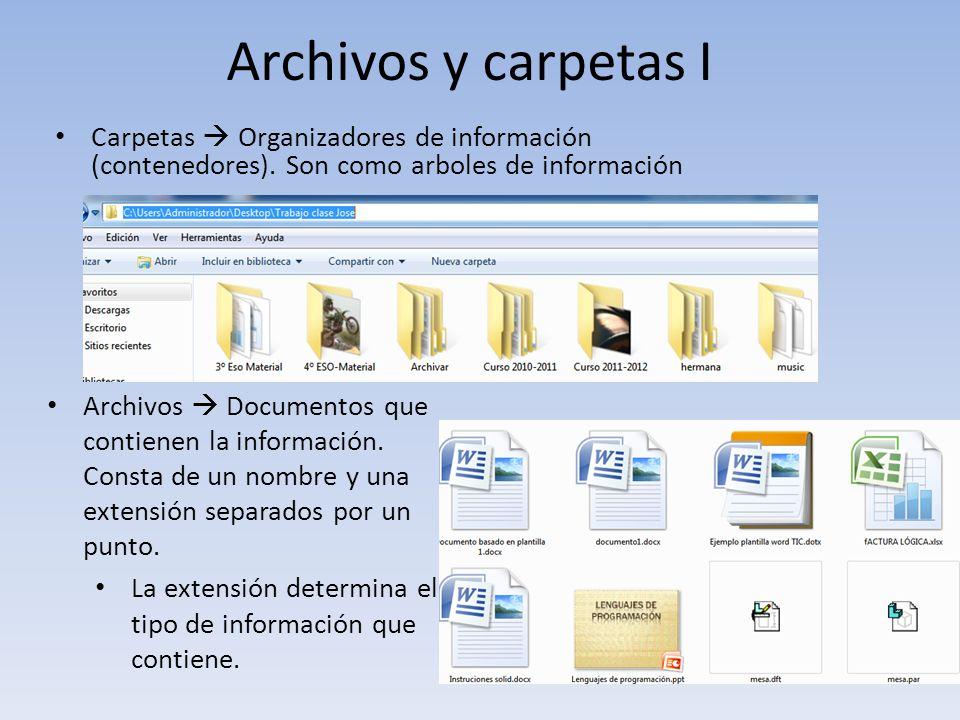 Archivos y carpetas I Carpetas  Organizadores de información (contenedores). Son como arboles de información.