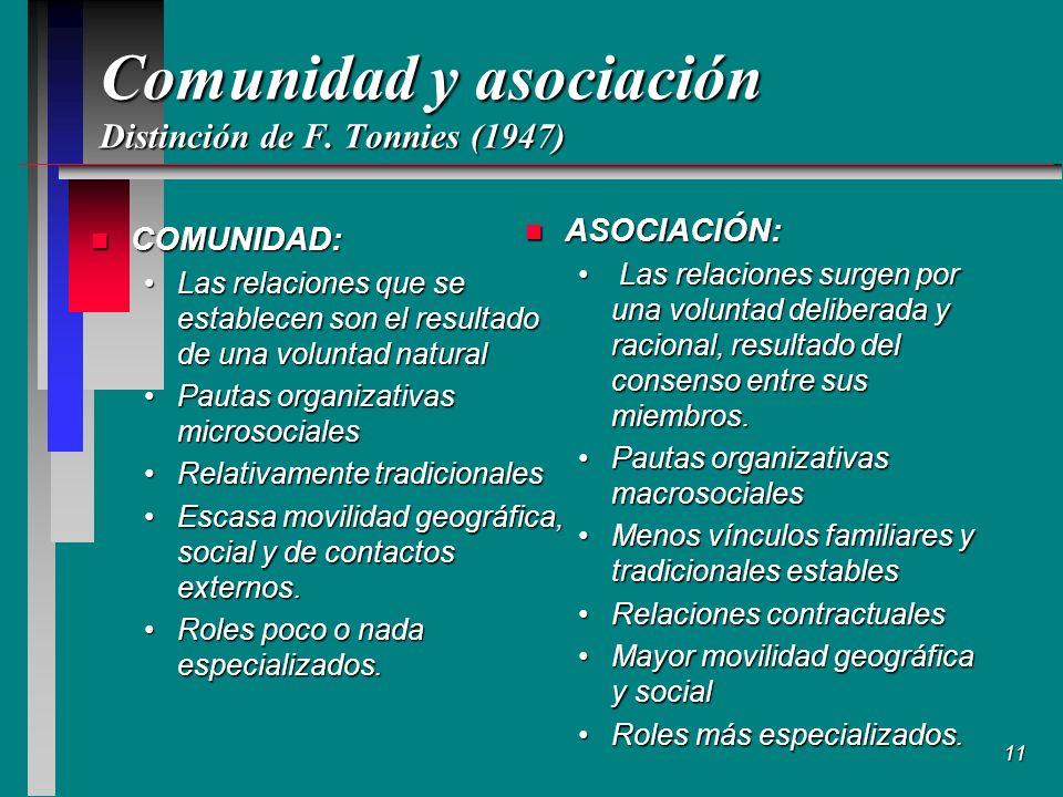 Comunidad y asociación Distinción de F. Tonnies (1947)